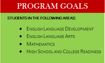 chart that states goals: english language development, english language arts, math, and high school and college ready