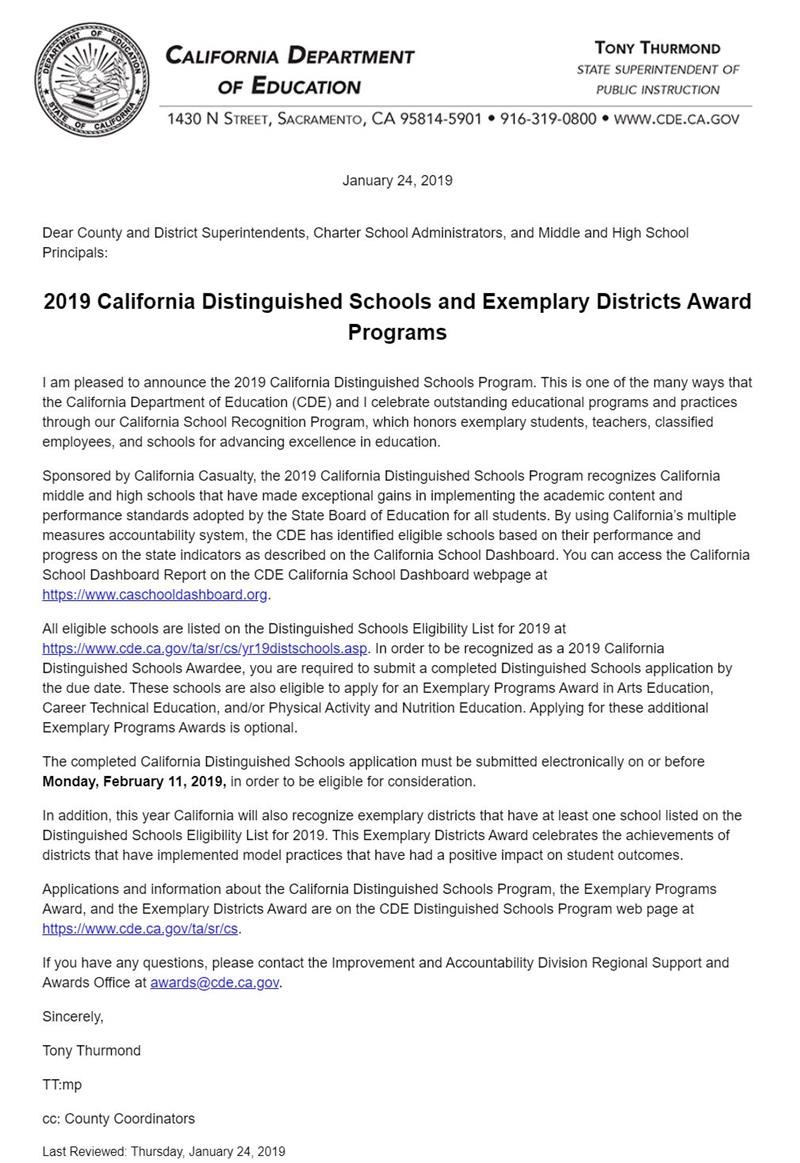 CDE Exemplary School District