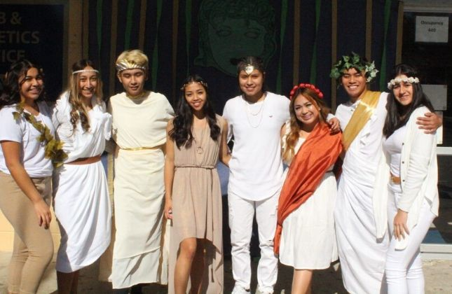 Students dressed in toga