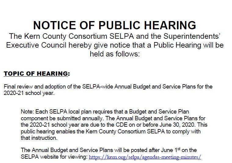 Notice of Public Hearing - SELPA