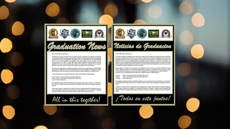 Circles on black background with graduation news information