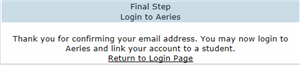 Final step to login to Aeries